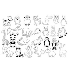 set with baby animals  outline cartoon vector image