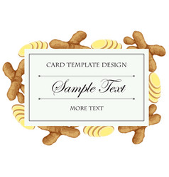 Card template with fresh ginger on border vector