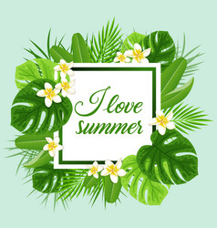 Summer frame with green leaves vector