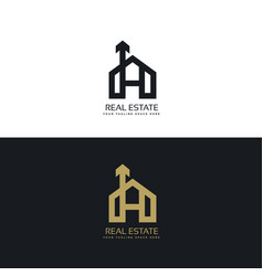 Clean house logo concept design with arrow symbol vector