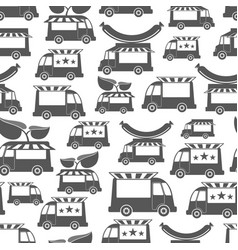 Food trucks with sausage - food seamless pattern vector