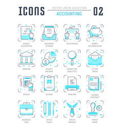 Set line flat icons of accounting vector