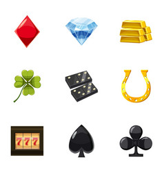 Gaming luck icons set cartoon style vector