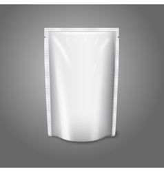 Blank white realistic plastic pouch isolated on vector