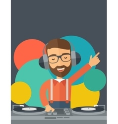 Disc jockey mixing music vector