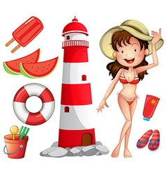 Woman in bikini and other beach things vector image