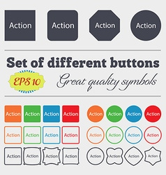 Action sign icon motivation button with arrow big vector