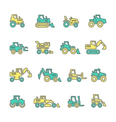 Set line icons of tractors vector