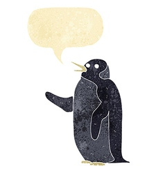 Cartoon penguin waving with speech bubble vector