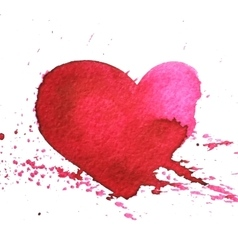 Hand-drawn watercolour red heart with splatter vector