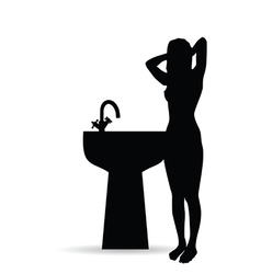 Girl black silhouette with sink vector