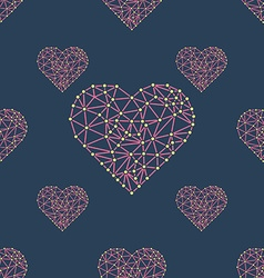 Heart with connected lines and dots wireframe mesh vector