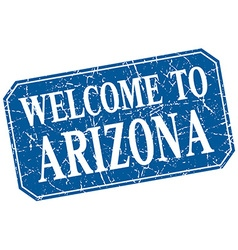 Welcome to arizona blue square grunge stamp vector