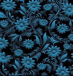 Floral pattern on black background vector image