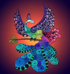 Bird phoenix violet vector