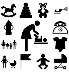 Child care modern icons set flat vector