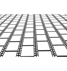 perspective of empty filmstrips background vector image