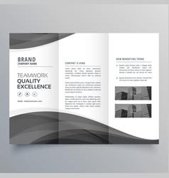 black wave business trifold brochure design vector image