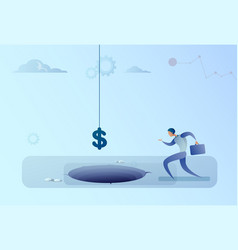 business man run to dollar sign falling in hole vector image vector image