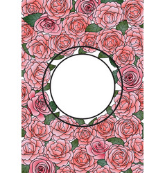 Camellia round frame vector