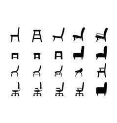 Chair icons and symbol in silhouette style vector