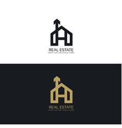 clean house logo concept design with arrow symbol vector image