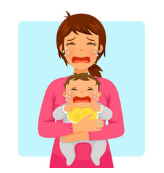 Crying baby and crying mom vector