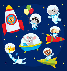 Cute animal astronauts spacemen flying in rockets vector