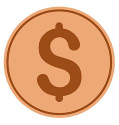 Dollar bronze coin vector