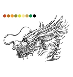 Dragon coloring page template vector