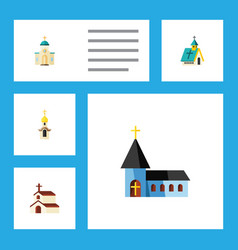Flat icon christian set of architecture religious vector