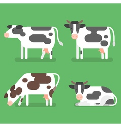 Flat style set of cow isolated on green background vector
