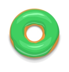 Green glazed donut icon cartoon style vector