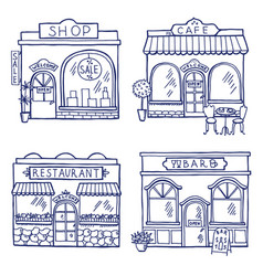 hand drawn of different buildings and vector image