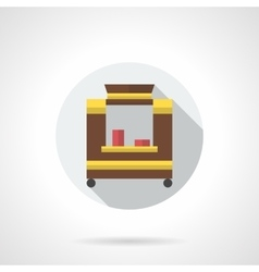 Hot drinks trolley flat color round icon vector