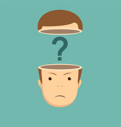 Human head open with question mark vector