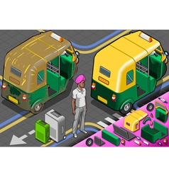 Isometric indian rickshaw in rear view vector