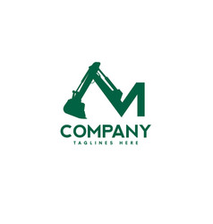 Letter m excavators construction machinery logo vector