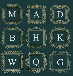 Monogram emblem heraldic fashion sign vector