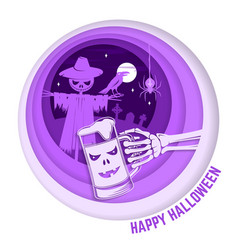 paper art carving style design for halloween vector image