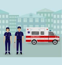Paramedics ambulance team with ambulance car and vector