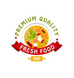 premium quality 1969 fresh food logo template vector image vector image