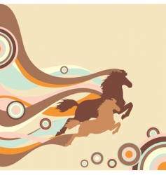 retro background with horses vector image vector image