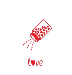 Salt shaker with hearts inside card vector
