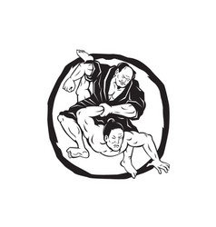 Samurai jiu jitsu judo fighting drawing vector