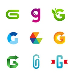 Set of letter g logo icons design template vector
