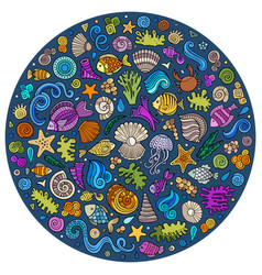 set of sealife cartoon doodle objects symbols and vector image vector image