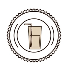 silhouette with drink with straw on dish vector image