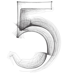 Sketch font number 5 vector