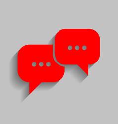 Speech bubbles sign red icon with soft vector